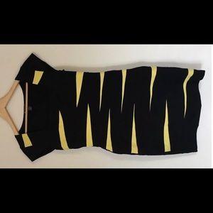 INC Black & Yellow Dress Cap Sleeve -Size 6 *EUC*